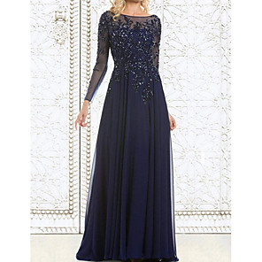 cheap Floral/Botanical Paintings-A-Line Mother of the Bride Dress Elegant Illusion Neck Floor Length Chiffon Lace Long Sleeve with Lace Appliques 2020