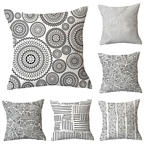 cheap Throw Pillow Covers-6 pcs Throw Pillow Simple Classic 45*45 cm Cushion Vintage Circle Cover Sofa Home Decor Throw Pillow Case