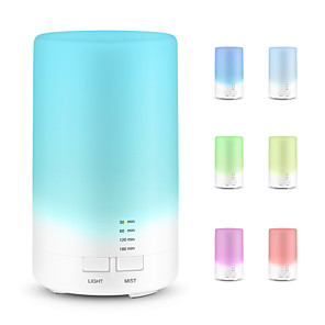 cheap Humidifiers-USB Aromatherapy Essential Oil Diffuser Portable Aroma Humidifier Air Refresher with 7 Colorful LED Lights for Office Home Car Vehicle Travel White