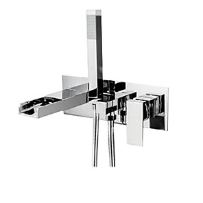 cheap Bathtub Faucets-Bathtub Faucet - Contemporary Wall Mounted Waterfall Chrome Bathroom Bath Shower Mixer Taps with Handheld Shower