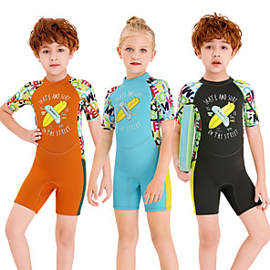 cheap Wetsuits, Diving Suits & Rash Guard Shirts-Dive&Sail Boys' Girls' Shorty Wetsuit 2.5mm SCR Neoprene Diving Suit Windproof Anatomic Design Short Sleeve Back Zip Patchwork Autumn / Fall Spring Summer / High Elasticity / Kids