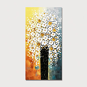 cheap Floral/Botanical Paintings-Hand Painted Canvas Oilpainting Abstract Tree by Knife Home Decoration with Frame Painting Ready to Hang
