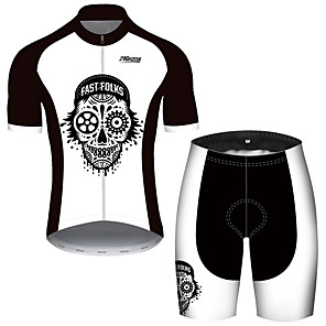 cheap Cycling Jerseys-21Grams Men's Short Sleeve Cycling Jersey with Shorts Black / White Patchwork Skull Bike Clothing Suit UV Resistant Breathable Quick Dry Sweat-wicking Sports Solid Color Mountain Bike MTB Road Bike