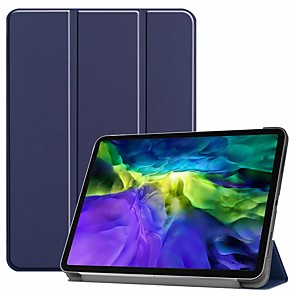 cheap iPad case-Case For Pro 11''(2020) / iPad 10.2''(2019) / Ipad air3 10.5'(2019) Shockproof / with Stand / Flip Full Body Cases Solid Colored PU Leather Case For iPad (2017) / iPad Mini 5 / iPad (2018)