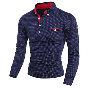 cheap Video Door Phone Systems-Men's Polo Polka Dot Print Long Sleeve Slim Tops Shirt Collar White Black Navy Blue