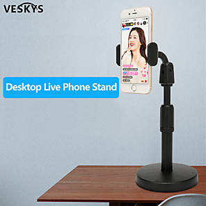 cheap Phone Mounts & Holders-VESKYS Desk Mobile Phone Holder Stand For iPhone iPad Adjustable Metal Desktop Tablet Holder Universal Table Cell Phone Stand