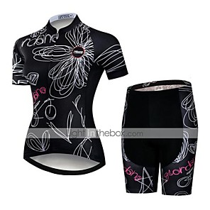 cheap Triathlon Clothing-21Grams Women's Short Sleeve Cycling Jersey with Shorts Polyester Spandex Black / White Floral Botanical Bike Clothing Suit Breathable Quick Dry Ultraviolet Resistant Sweat-wicking Sports Floral