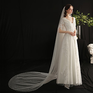 cheap Wedding Veils-Two-tier Elegant & Luxurious Wedding Veil Cathedral Veils with Faux Pearl Tulle