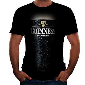 cheap LED Strip Lights-Men's Plus Size T-shirt 3D Graphic Beer Tops Basic Round Neck Black / Short Sleeve