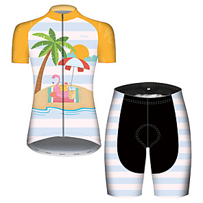 cheap Cycling Jersey & Shorts / Pants Sets-21Grams Women's Short Sleeve Cycling Jersey with Shorts Blue+Yellow Flamingo Floral Botanical Bike Breathable Quick Dry Sports Flamingo Mountain Bike MTB Road Bike Cycling Clothing Apparel