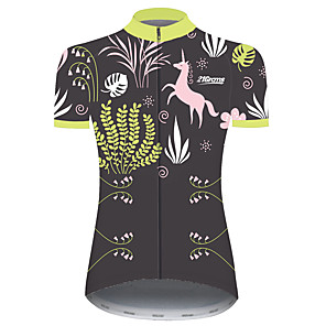 cheap Cycling Jerseys-21Grams Women's Short Sleeve Cycling Jersey Forest Green Unicorn Animal Floral Botanical Bike Jersey Top Mountain Bike MTB Road Bike Cycling UV Resistant Breathable Quick Dry Sports Clothing Apparel