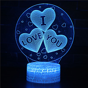 cheap 3D Night Lights-3D Night Light I Love You Illusion Optical Lamp LED Glowing 7 Colors Changing RGB Home Decor Bedroom Table Lights for Kids Adults Girls Heart