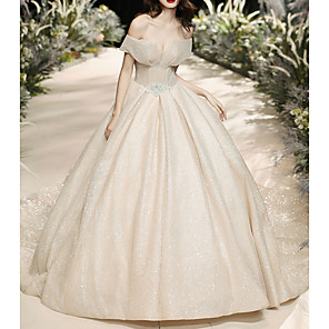 cheap Triathlon Clothing-Ball Gown Wedding Dresses Off Shoulder Watteau Train Tulle Short Sleeve Formal Wedding Dress in Color with Crystal Brooch 2020