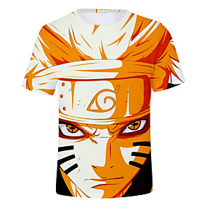 cheap Everyday Cosplay Anime Hoodies & T-Shirts-Inspired by Naruto Naruto Uzumaki Cosplay Costume T-shirt Polyster Print Printing T-shirt For Men's / Women's