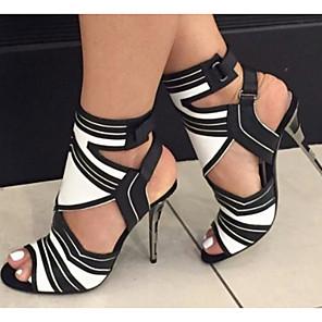 cheap Women's Sandals-Women's Sandals Stiletto Heel Open Toe PU Summer White