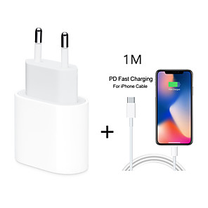 cheap Wall Chargers-18W USB Type C Quick Charger Adapter For iPhone 11 pro Xs Max X Xr 8 Plus 8 7 6 5 PD Fast Charging Power Type-C EU Plug for Apple Cable
