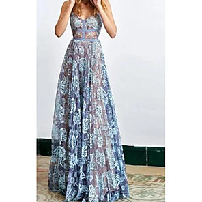 cheap Prom Dresses-A-Line Floral Blue Holiday Prom Dress Spaghetti Strap Sleeveless Floor Length Lace with Lace Insert 2020