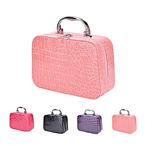 cheap Portable Speakers-Makeup Box Crocodile Texture PU Leather Portable Travel Bag With Handle