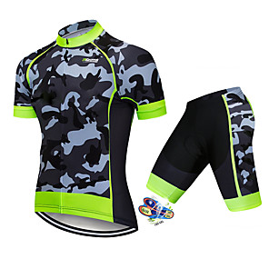 cheap Wetsuits, Diving Suits & Rash Guard Shirts-21Grams Men's Short Sleeve Cycling Jersey with Shorts Spandex Polyester Black / Green Camo / Camouflage Bike Clothing Suit UV Resistant Breathable 3D Pad Quick Dry Sweat-wicking Sports Solid Color