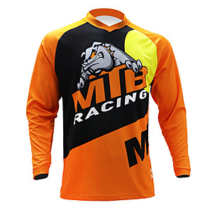 cheap Cycling Jerseys-21Grams Men's Long Sleeve Cycling Jersey Downhill Jersey Dirt Bike Jersey Black / Orange Novelty Animal Cow Bike Jersey Top Mountain Bike MTB Road Bike Cycling UV Resistant Breathable Quick Dry Sports