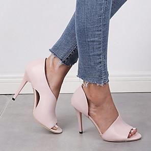 cheap Wedding Shoes-Women's Sandals Stiletto Heel Open Toe PU Summer Pink / Black
