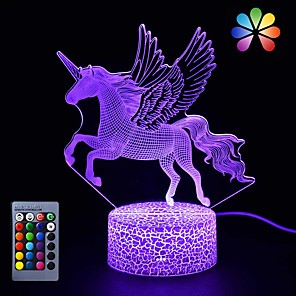 cheap 3D Night Lights-Unicorn 3D Nightlight LED Night Light Color-Changing / Adorable / Decoration Remote Control / Touch Dimmer / Gradient Mode Valentine's Day / Christmas AA Batteries Powered / USB 1pc