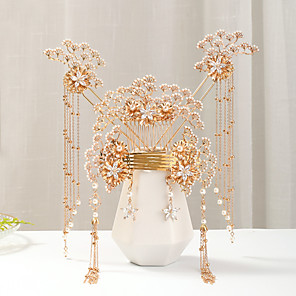 cheap Hair Jewelry-Women's Hair Combs Hair Sticks Earrings For Wedding Engagement Party Wedding Pearl Alloy Golden 1pc