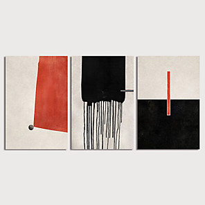 cheap Abstract Paintings-Hand Painted Canvas Oilpainting Abstract set of 3 Home Decoration with Frame Painting Ready to Hang