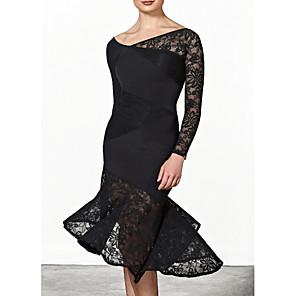 cheap Latin Dancewear-Ballroom Dance Dress Pleats Women's Performance Long Sleeve Polyester Taffeta