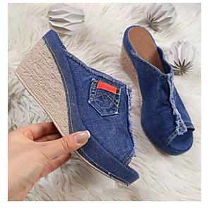 cheap Women's Sandals-Women's Sandals / Clogs & Mules 2020 Summer / Fall Wedge Heel Open Toe Casual Daily Home Denim Black / Blue