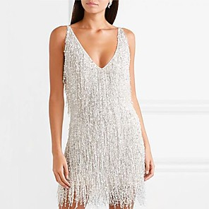 cheap Women's Heels-Women's Sheath Dress Short Mini Dress - Sleeveless Solid Colored Backless Tassel Fringe Glitter Deep V Elegant Sexy Cocktail Party New Year Going out Silver S M L XL XXL