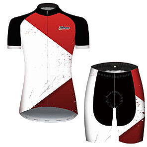 cheap Cycling Jersey & Shorts / Pants Sets-21Grams Women's Short Sleeve Cycling Jersey with Shorts Red and White Plaid / Checkered Patchwork Geometic Bike Clothing Suit Breathable Quick Dry Ultraviolet Resistant Sweat-wicking Sports Plaid
