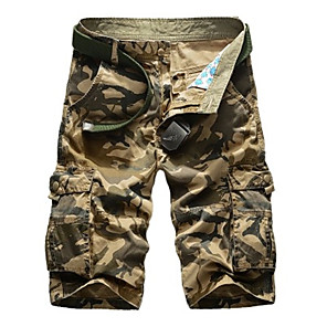 "cheap Hiking Trousers & Shorts-Men's Hiking Shorts Hiking Cargo Shorts Summer Outdoor 10"" Standard Fit Breathable Quick Dry Sweat-wicking Comfortable Shorts Bottoms Jungle camouflage Black Blue Army Green Camouflage Camping"
