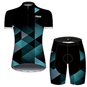 cheap Cycling Jersey & Shorts / Pants Sets-21Grams Women's Short Sleeve Cycling Jersey with Shorts Spandex Polyester Black / Green Plaid Checkered Geometic Bike Clothing Suit Breathable Quick Dry Ultraviolet Resistant Sweat-wicking Sports