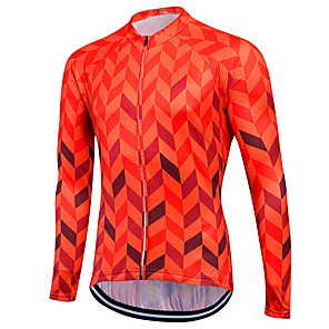 cheap Cycling Jerseys-Fastcute Men's Women's Long Sleeve Cycling Jersey Winter Coolmax® Skin Red Purple Yellow Plus Size Bike Sweatshirt Jersey Top Mountain Bike MTB Road Bike Cycling Breathable Quick Dry Reflective Strips