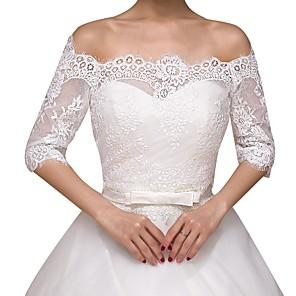 cheap Wedding Slips-Half Sleeve Basic Lace Wedding Shawl & Wrap With Lace