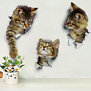 cheap Practical Favors-Cute DIY Cat Decals Adhesive Family Wall Stickers Window Room Decorations Bathroom Toilet Seat Decor Kitchen Accessories