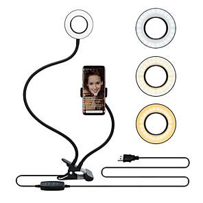 cheap Ring light-Selfie Ring Light TikTok Light Youtube Video with Flexible Mobile Phone Holder Lazy Bracket Desk Lamp LED Light for Live Stream Office Kitchen USB 1pc