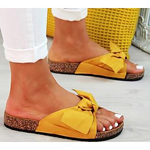 cheap Women's Sandals-Women's Sandals Boho / Beach Flat Sandals Summer Flat Heel Open Toe Daily Canvas Black / Yellow / Red