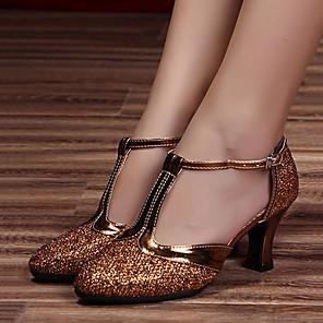 cheap Wedding Shoes-Women's Latin Shoes Faux Leather Heel Cuban Heel Dance Shoes Coffee / Dark Purple / Gold