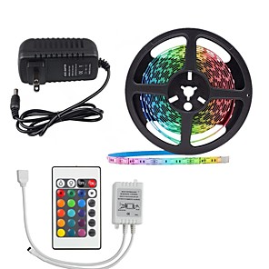 cheap LED Strip Lights-5M 16.4ft LED Light Strips RGB Tiktok Lights 2835 300leds Not waterproof 8mm Strips Lighting Flexible Color Changing with 24 Key IR Remote Ideal for Home Kitchen Christmas TV Back Lights DC 12V