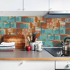 cheap Wall Stickers-20x10cmx9pcs Rusty Pattern Wall Stickers Retro Oil-proof Waterproof Tile Wallpaper For Kitchen Bathroom Ground Wall House Decoration