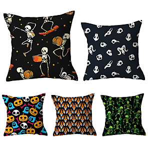 cheap Pillow Covers-5 pcs Throw Pillow Simple Classic 45*45 cm Cotton / Linen Pillow Cover Floral Pattern Floral Print Flower Patterned