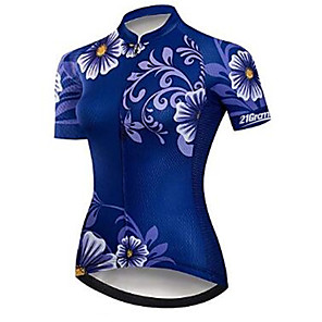 cheap Cycling Jerseys-21Grams Floral Botanical Women's Short Sleeve Cycling Jersey - Blue Bike Jersey Top Breathable Quick Dry Moisture Wicking Sports Polyester Elastane Terylene Mountain Bike MTB Road Bike Cycling