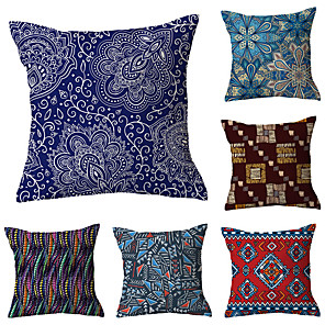 cheap Pillow Covers-6 pcs Polyester Pillow Cover, Retro Plaid Simple Classic Square Traditional Classic
