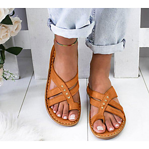 cheap Cycling Jerseys-Women's Sandals Wedge Sandals Flat Sandal Summer Wedge Heel Open Toe Daily PU White / Yellow / Brown