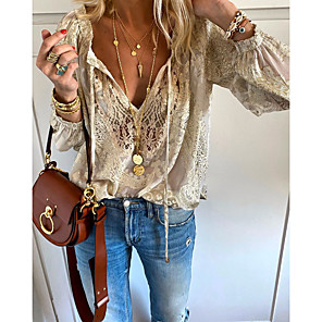 cheap Bathroom Gadgets-Women's Solid Colored Lace Embroidery Hollow Out T-shirt - Lace Daily V Neck Beige