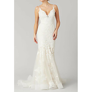 cheap Wedding Veils-Mermaid / Trumpet Wedding Dresses Spaghetti Strap Sweep / Brush Train Tulle Polyester Sleeveless Country Plus Size with Lace Embroidery 2020