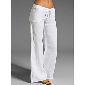 cheap Women's Heels-Women's Basic Loose Chinos Pants Solid Colored White Black Blue S M L