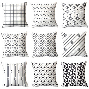 cheap Pillow Covers-9 pcs Polyester Pillow Cover, Geometric Geometic Simple Classic Square Traditional Classic